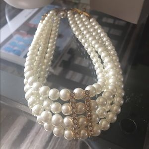 4 strand faux  pearl choker with gold details